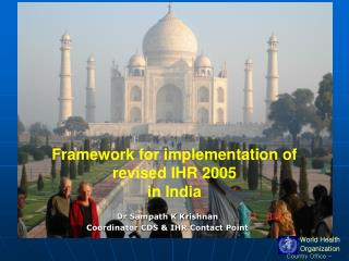 Framework for implementation of  revised IHR 2005  in India