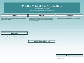 Put the Title of the Poster Here Researcher ' s names Name of Institution can be placed here