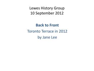 Lewes History Group 10 September 2012
