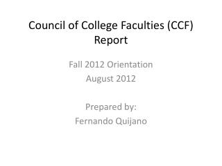 Council of College Faculties (CCF) Report