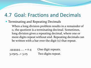 4.7  Goal: Fractions and Decimals