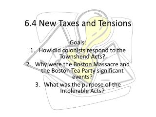 6.4 New Taxes and Tensions