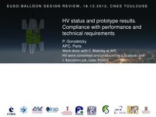 EUSO-BALLOON DESIGN REVIEW, 18.12.2012, CNES TOULOUSE
