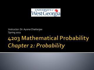 4203 Mathematical Probability Chapter 2: Probability