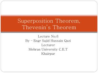 Superposition Theorem, Thevenin's  Theorem