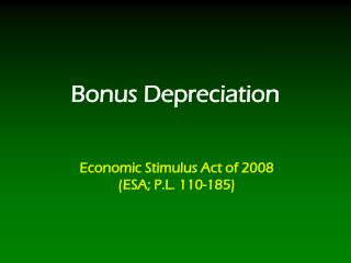 Bonus Depreciation