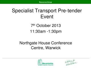 Specialist Transport Pre-tender Event