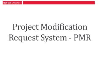 Project Modification Request System - PMR