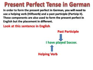 Present Perfect Tense in German