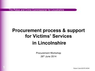 Procurement process & support for Victims' Services  in Lincolnshire Procurement Workshop