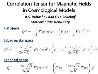 Correlation Tensor for Magnetic Fields  in Cosmological Models