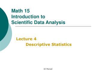 Lecture 4 Descriptive Statistics