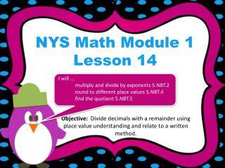 NYS Math Module 1 Lesson 14