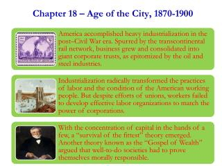 Chapter  18 – Age of th e City ,  1870-1900