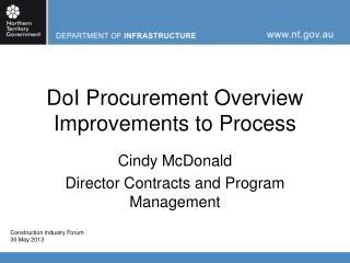 DoI Procurement Overview Improvements to Process