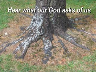 Hear what our God asks of us