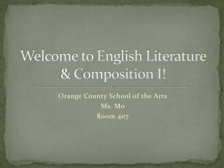 Welcome to English Literature & Composition I!