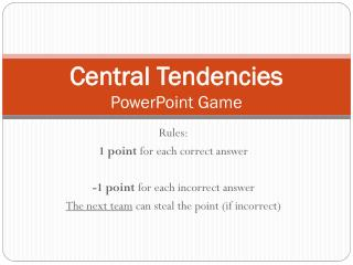 Central Tendencies  PowerPoint Game