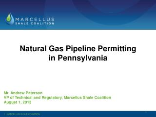 Natural  Gas Pipeline Permitting in Pennsylvania Mr .  Andrew Paterson