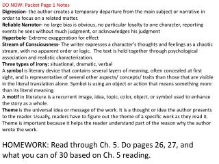 HOMEWORK :  Read through Ch. 5. Do pages 26, 27, and what you can of 30 based on Ch. 5 reading.