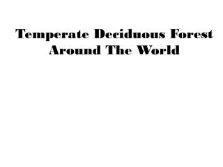 Temperate Deciduous Forest Around The World