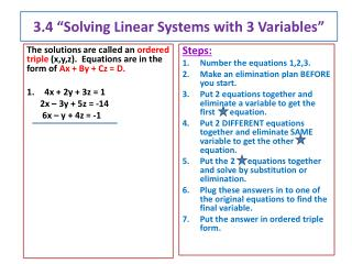 "3.4 ""Solving Linear Systems with  3 Variables"""