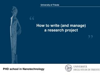 How to write (and manage) a research project