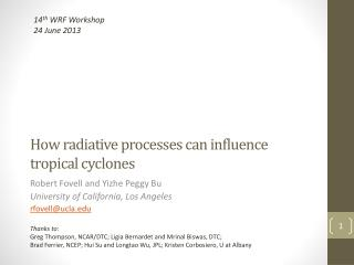 How radiative processes can influence  tropical cyclones