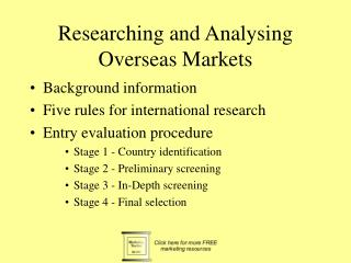 Researching and Analysing Overseas Markets