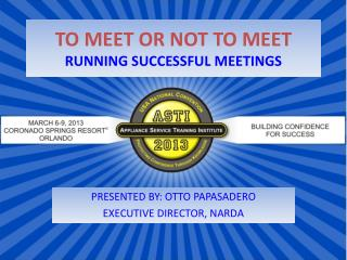 TO MEET OR NOT TO MEET RUNNING SUCCESSFUL MEETINGS