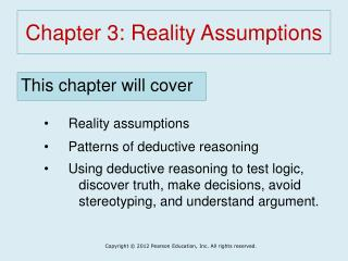 Chapter 3: Reality Assumptions