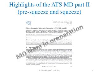 Highlights of the ATS MD part II  (pre-squeeze and squeeze)
