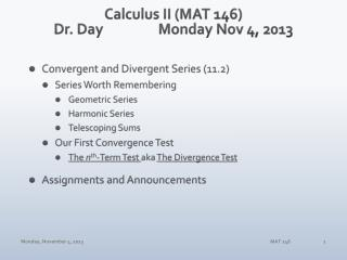 Calculus II (MAT 146) Dr. Day		Monday Nov 4, 2013