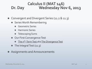 Calculus II (MAT 146) Dr. Day		Wednesday Nov 6, 2013