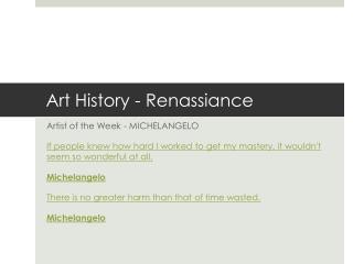 Art  History -  Renassiance