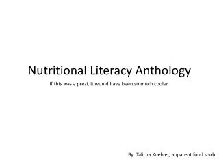 Nutritional Literacy Anthology