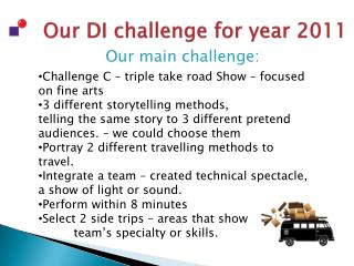 Our DI challenge for year 2011