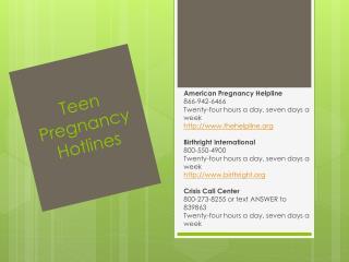 Teen Pregnancy Hotlines