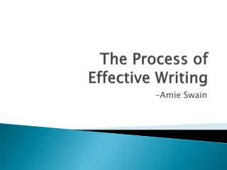 The Process of  Effective Writing