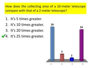 How does the collecting area of a 10-meter telescope compare with that of a 2-meter telescope?