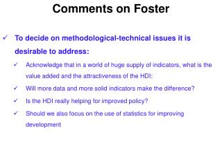 Comments on Foster