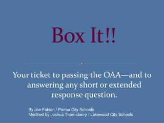Box It!!