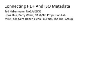 Connecting  HDF  And ISO Metadata