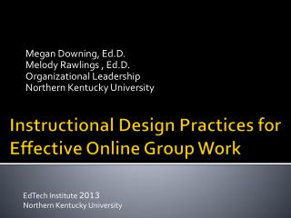 Instructional Design Practices for Effective Online Group Work