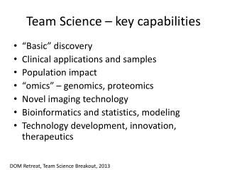 Team Science – key capabilities