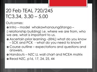 20 Feb TEAL 720/245 TC3.34, 3.30 – 5.00