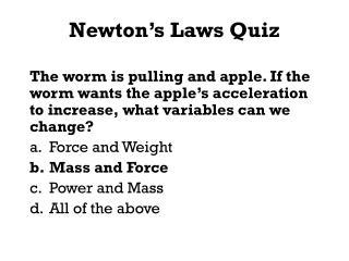 Newton�s Laws Quiz