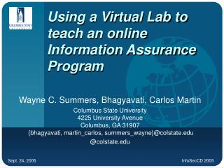 Using a Virtual Lab to teach an online Information Assurance ...