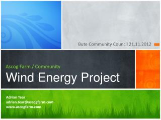 Ascog  Farm / Community Wind Energy Project