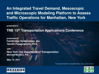 TRB 13 th  Transportation Applications Conference